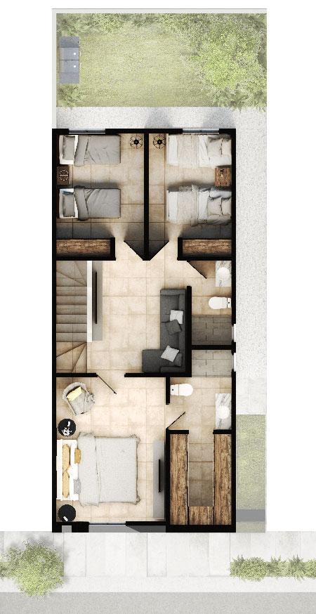 Planta alta de casa modelo Ibiza VI en Altrysa Residencial