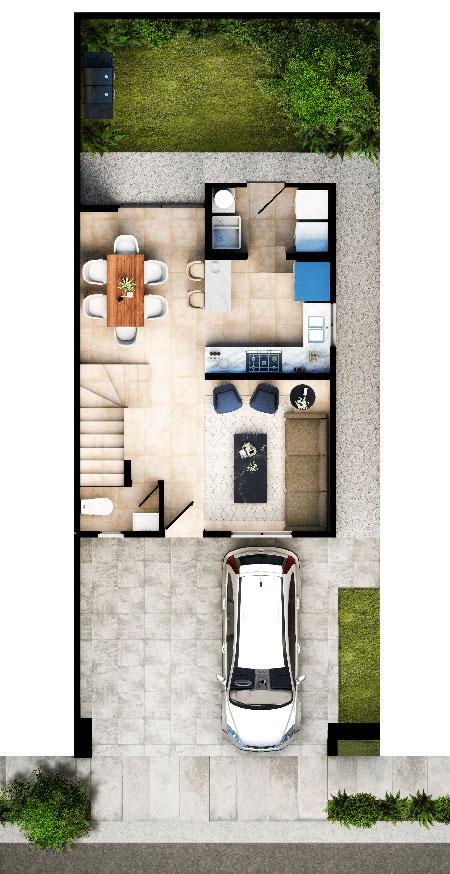 Planta baja de casa modelo Ibiza VI en Altrysa Residencial
