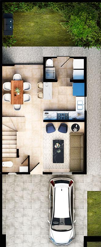 Planta baja de casa modelo Ibiza Vi del fraccionamiento Altrysa en Dominio Cumbres